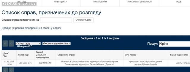 На советника Одесского губернатора Поланского Артема подан иск о защите чести и достоинства