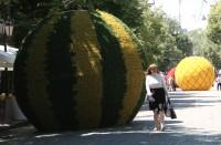 На Дерибасовской установили светодиодные арбузы и ананасы